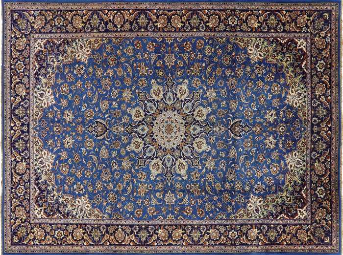 New Amazing Rare Blue Dark Blue Isfahan 9x12 Hand Knotted