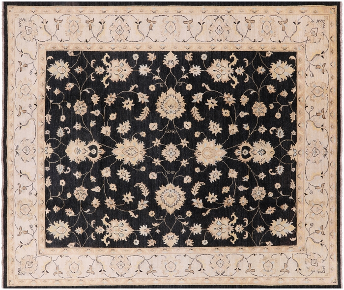 New Charcoal Black Floral Chobi Peshawar 8x10 Authentic