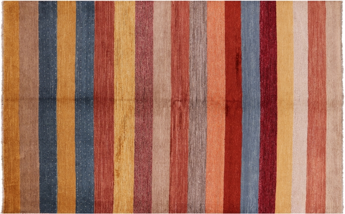 Multicolored Striped 7x10 Double Knotted Gabbeh Hand ...