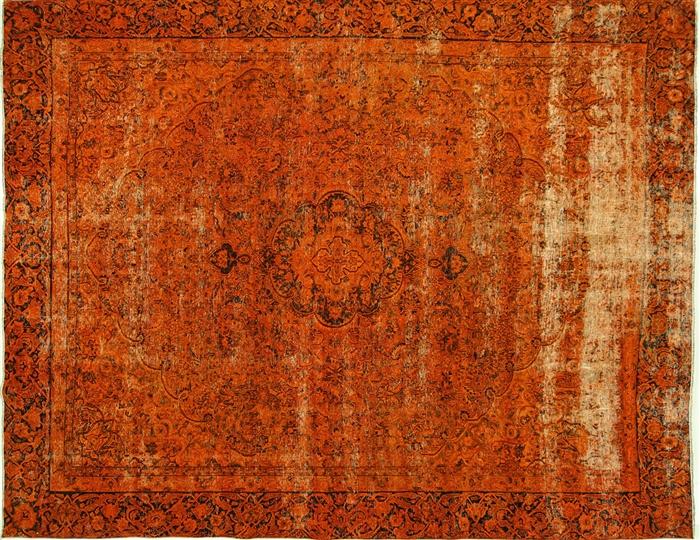 Exquisite 9 X12 Vermilion Orange Overdyed Hand Knotted