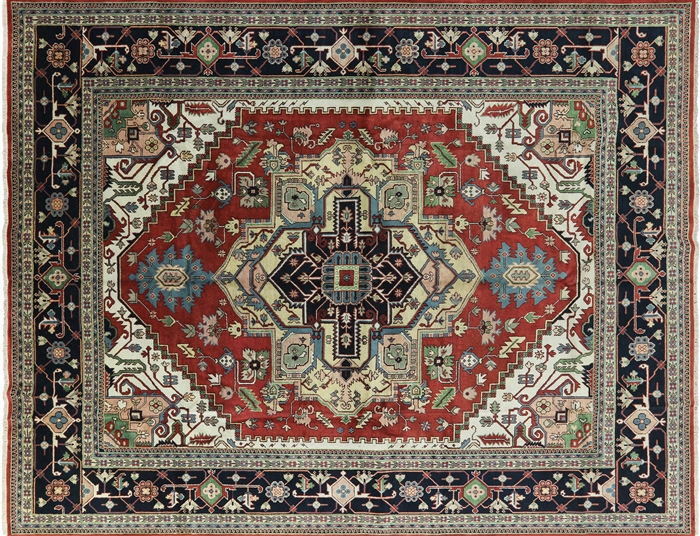 Serapi Vibrance Collection 12x15 Red Navy Heriz Hand