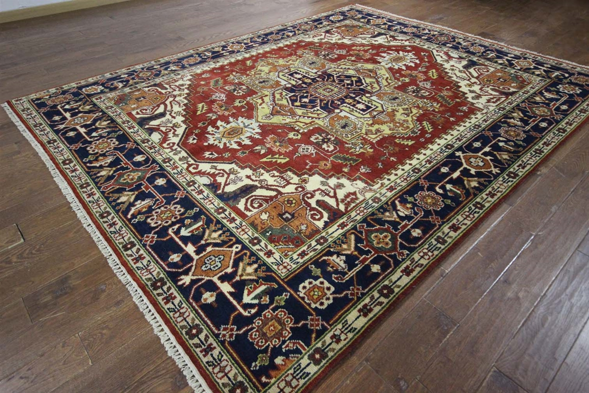9 39 x12 39 medallion red navy blue heriz serapi hand knotted for Red and navy rug