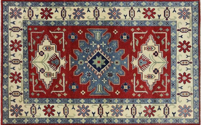 New Oriental Geo Floral Red 4 X7 Super Kazak Hand Knotted