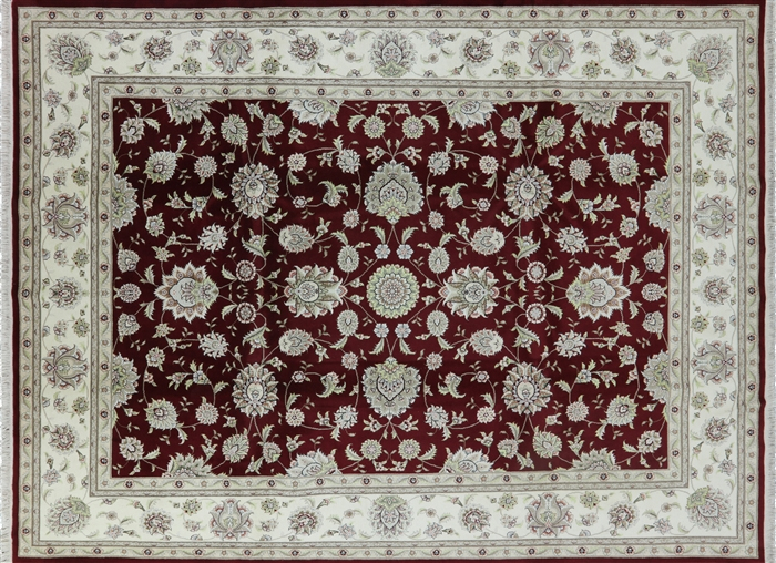 Herati Design Burgundy 9 X12 Tabriz Hand Kntotted Wool