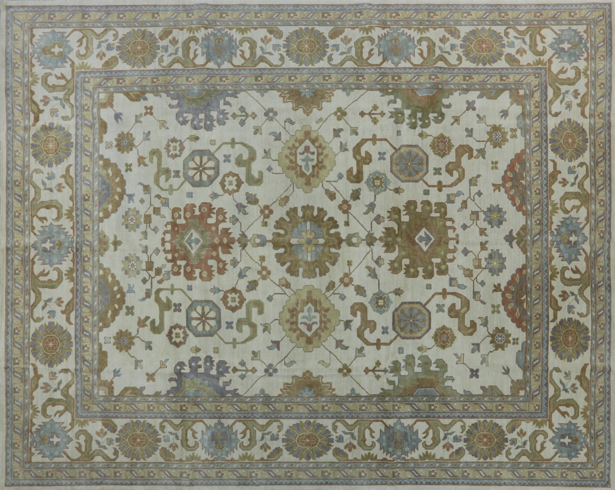 12 X15 Oushak Collection Ivory Floral Oriental Hand