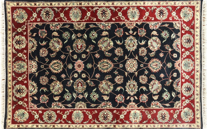 4 X6 Shah Abassi Design Black Tabriz Hand Knotted Wool