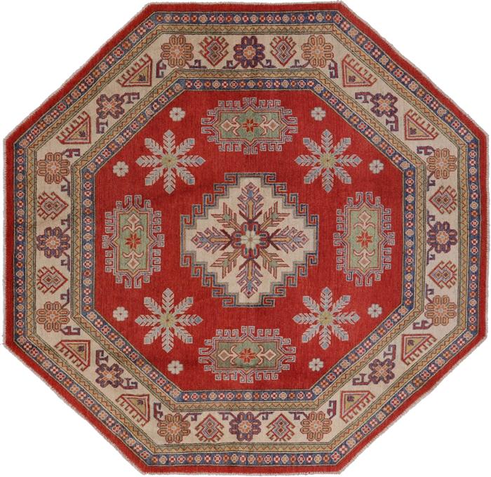 New 8 X8 Octagon Red Super Kazak Geometric Hand Knotted