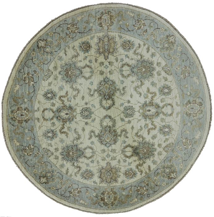 10x10 Square New Oushak Oriental Wool Area Rug: 5' Round Oriental Persian Hand Kotted Wool Area Rug