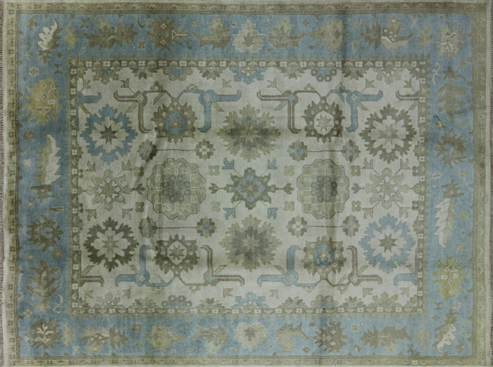 New 9 X12 Ivory Baby Blue Border Oushak Hand Knotted Wool
