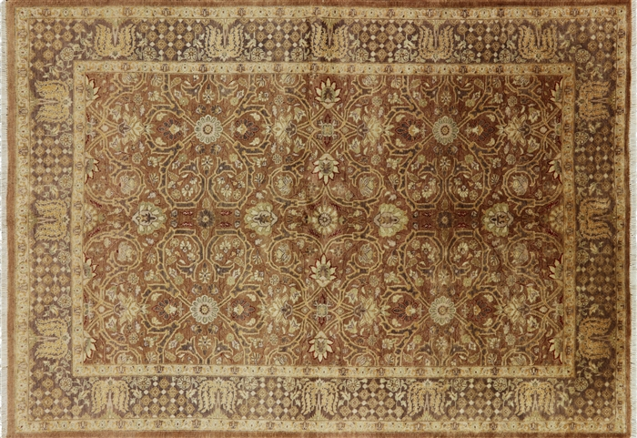 Oushak Collection 6x9 Hand Knotted Wool Rust Beige Chobi