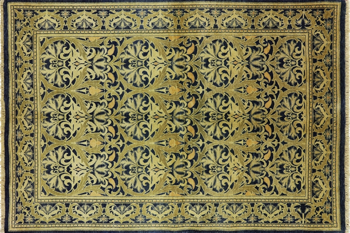 6 X 9 William Morris Handmade Wool Rug H6371