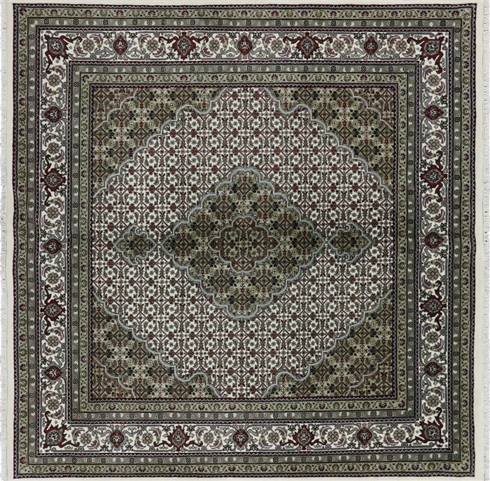 10x10 Square New Oushak Oriental Wool Area Rug: New Hand Knotted 6' Square Ivory Mahi Design Trabiz Wool