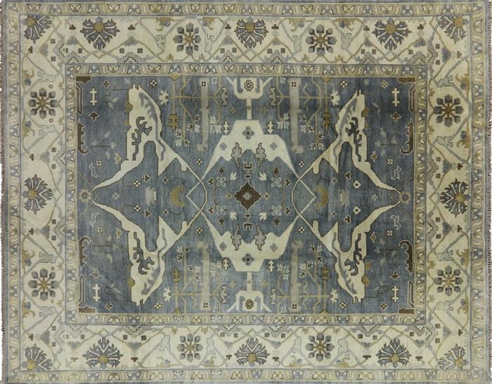 Unique 9 X12 Blue Geometric Oriental Hand Knotted Oushak