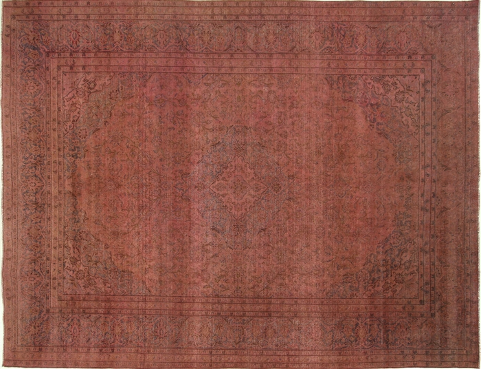Exquisite 10x13 Hand Knotted 100 Wool Coral Pink Overdyed