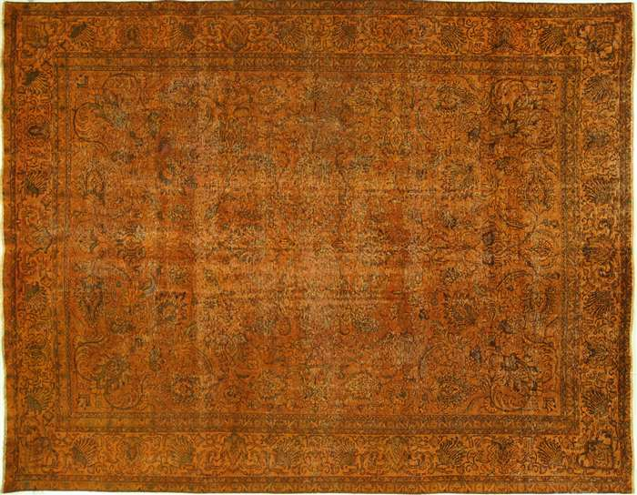 10 X12 Sunirise Orange Tabriz Overdyed Hand Knotted Wool