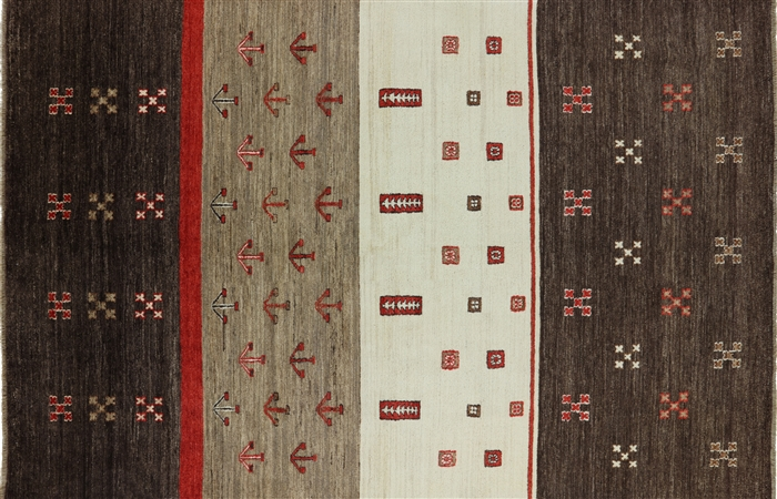 Spectacular Hand Knotted Wool Gabbeh 6 X9 Oriental