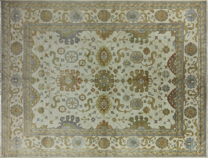 14x18 Antiqued Hand Knotted Oushak Oriental Wool Floral