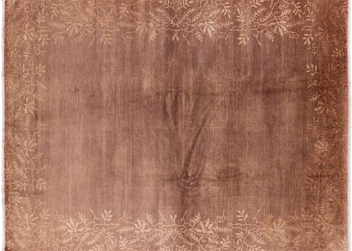 Floral Border Design 8 X10 Sepia Brown Gabbeh Hand