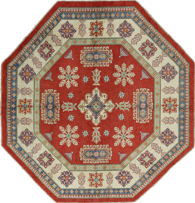 Geometric Oriental 8 Octagon Red Kazak Hand Knotted Wool