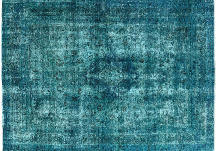 Elegant Vintage Oriental Overdyed Blue 8 X11 Hand Knotted