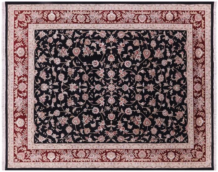 8 X10 Black Herati Design Floral Wool Amp Silk Tabriz Hand