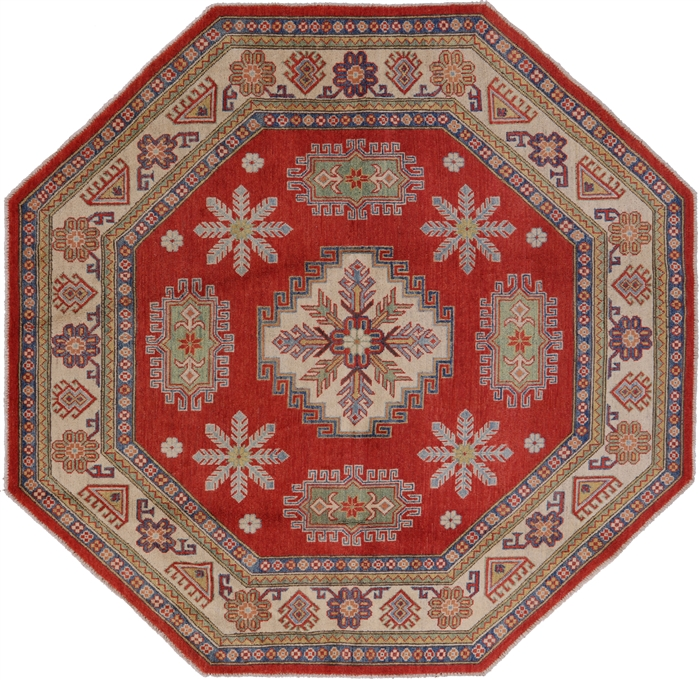 8 X8 Octagon Red Kazak Geometric Hand Knotted Wool Area