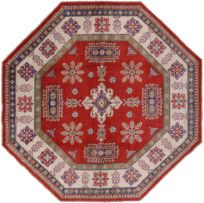 8 X8 Octagon Red Kazak Hand Knotted Wool Area Rug H8924