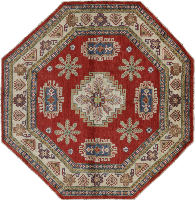 7 Octagon Oriental Geometric Red Kazak Hand Knotted Wool