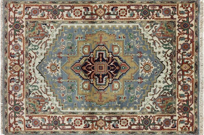 New Hand Knotted Heriz Serapi Blue Oriental 4 X6 Wool