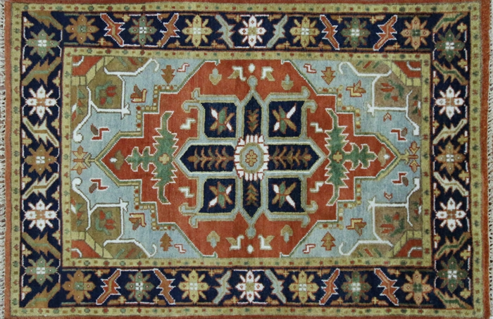 Unique Oriental 4 X6 Heriz Serapi Red Blue Hand Knotted