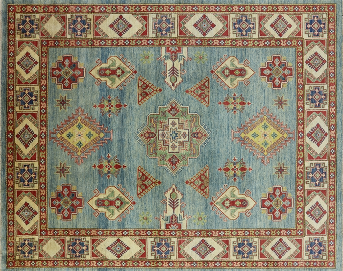 Super Kazak Light Blue Hand Knotted Wool Area Rug 8 X 10