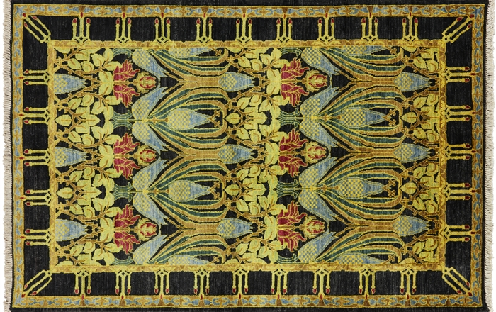 4 X 6 Oriental Modern Art Deco William Morris Design Area Rug