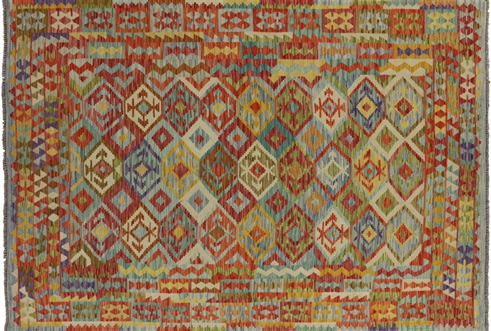 7 X 10 Flat Weave Multi Color Kilim Area Rug