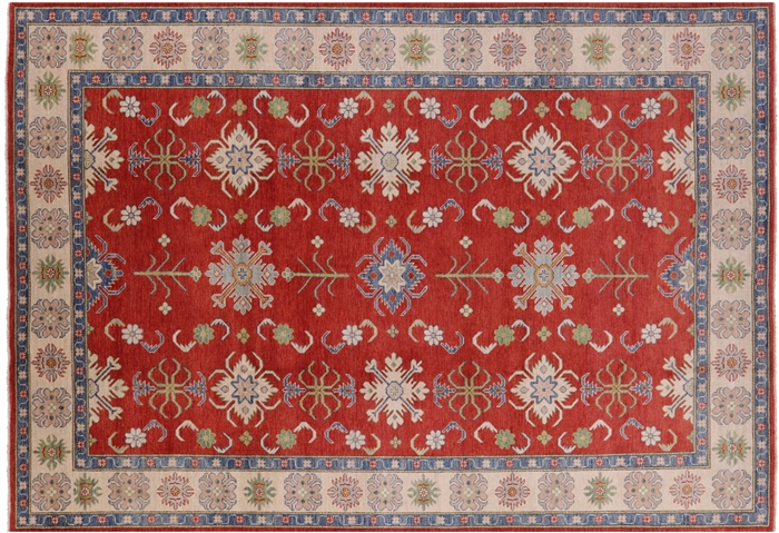 Kazak Motifs Design Wool Rug 10 X 14