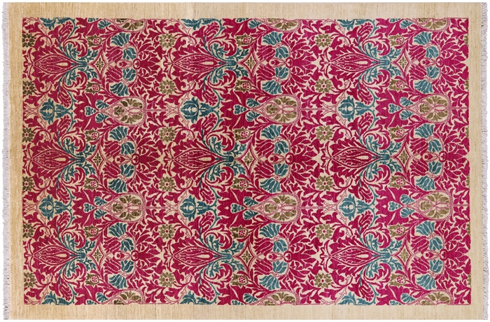 Oriental William Morris 6 X 9 Hand Knotted Area Rug