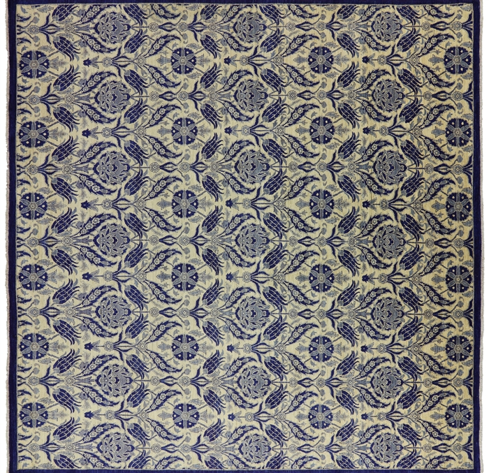 William Morris Design Square Oriental Wool 12 X 12 Suzani Rug