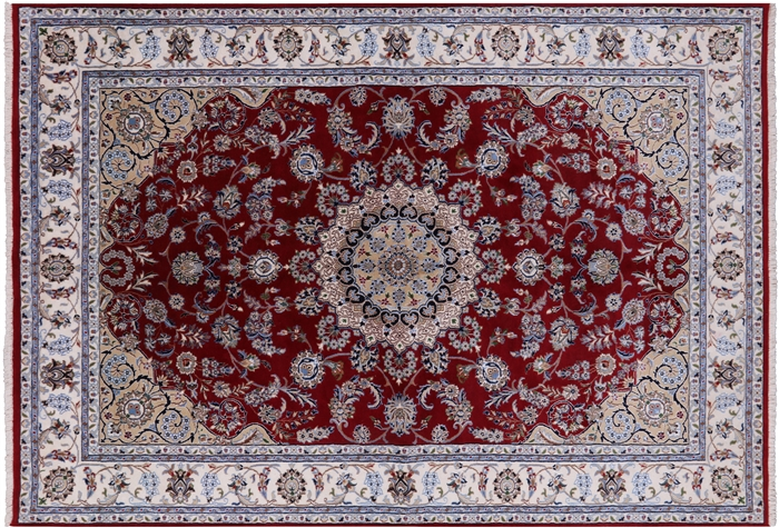 Hand Knotted Persian Nain Wool Amp Silk Area Rug 6 3 Quot X 9 1 Quot