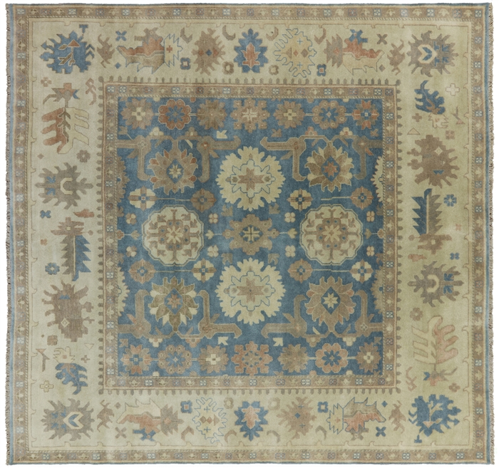 10 X 10 Square Hand Knotted Wool Oushak Rug