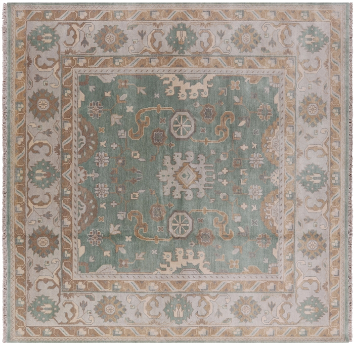 10x10 Square New Oushak Oriental Wool Area Rug: Hand Knotted Wool 9' Square Oushak Area Rug