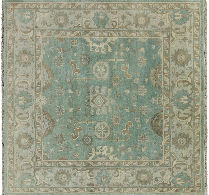 10x10 Square New Oushak Oriental Wool Area Rug: Hand Knotted Oushak 6' Square Area Rug