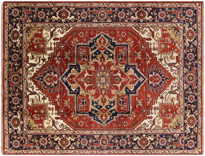 9 X 12 Traditional Heriz Hand Knotted Rug