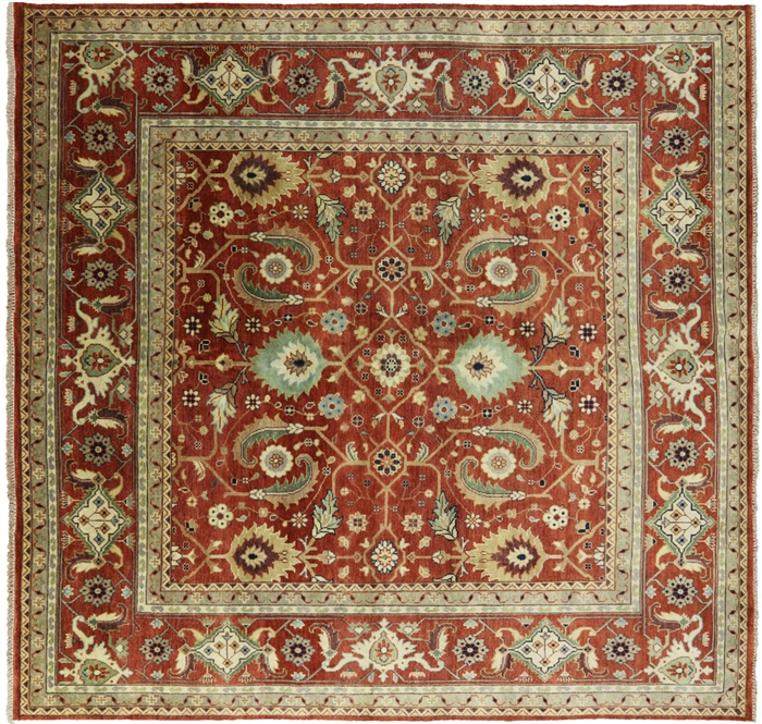 10x10 Square New Oushak Oriental Wool Area Rug: 9' Square Heriz Serapi Hand Knotted Wool Area Rug