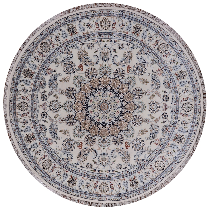 10x10 Square New Oushak Oriental Wool Area Rug: 7' Round Persian Nain Handmade Wool & Silk Area Rug