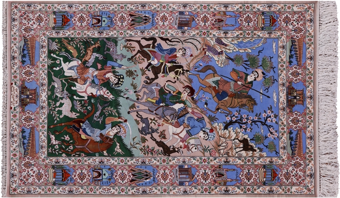 Signed Hand Knotted Persian Isfahan Hunting Scene Wool
