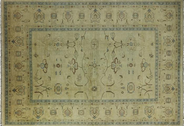 10 X14 Hand Knotted Oriental Chobi Peshawar Ivory Wool