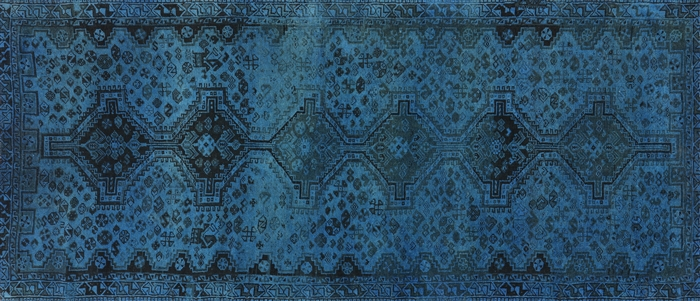 4 X9 Runner Overdyed Hand Knotted Blue Oriental Wool Area