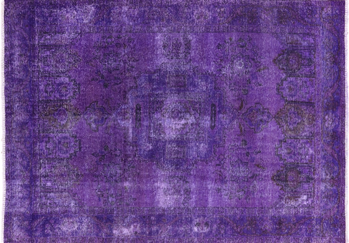 Oriental Purple Tabriz Overdyed 7 X 9 Area Rug W2604