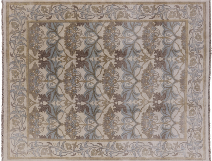 8 X 10 William Morris Design Hand Knotted Oushak Area Rug