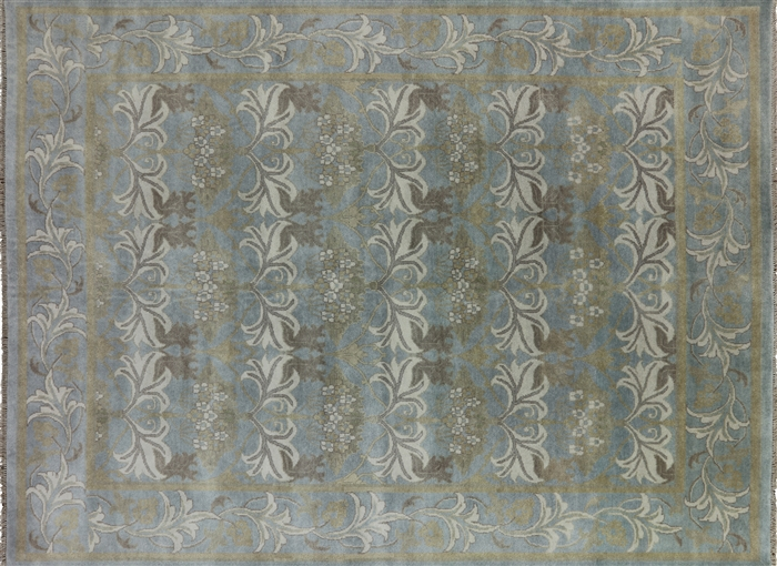 William Morris Design 9 X 12 Handmade Oushak Area Rug W2670
