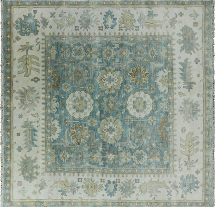 Pasargad Ny Persian Hand Knotted Wool Light Blue Ivory: Hand Knotted Oriental 8' Square Light Blue Turkish Oushak